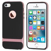 Rock - Coque Royce Series bi-matières noire et rose iPhone Se et 5s
