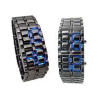 Universel - Montre Led titane éclairage bleu bracelet métal rock biker