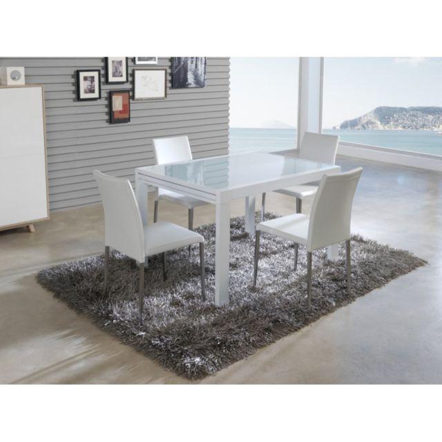 Ma Maison Mes Tendances Table à manger rectangulaire extensible 120-240cm en verre et métal laqué blanc Grus - L 120 x l 90 x H 76