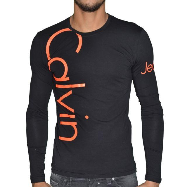 efa0b8a7656 Calvin Klein - T Shirt Manches Longues - Homme - Cmp53u - Noir Orange Fluo  - pas cher Achat   Vente Tee shirt homme - RueDuCommerce