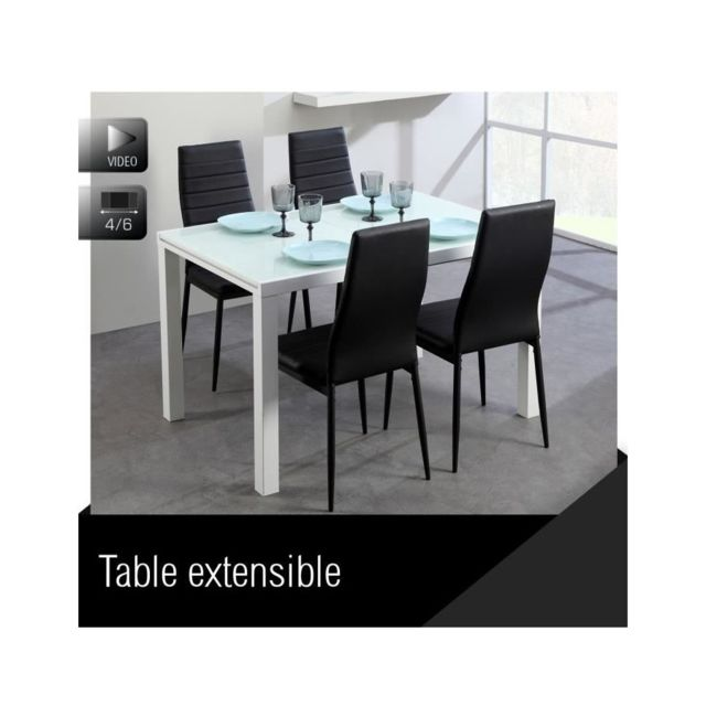 Extensible Table Verre Blanc Usines Pas Discount Roma 120180cm hrBsQdCtx