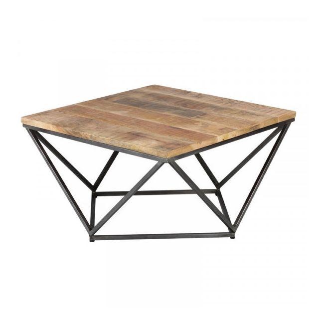 Dansmamaison Table basse carrée Métal/Bois - Konx - L 95 x l 95 x H 50 cm