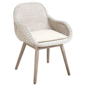 aubry gaspard fauteuil en rotin blanc et bois multicolore pas cher achat vente chaises. Black Bedroom Furniture Sets. Home Design Ideas
