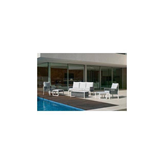 Hevea Ensemble Salon De Jardin Haut De Gamme Havan 10 en Aluminium Blanc/CORDAGE Gris Anais Blanc Hev31869