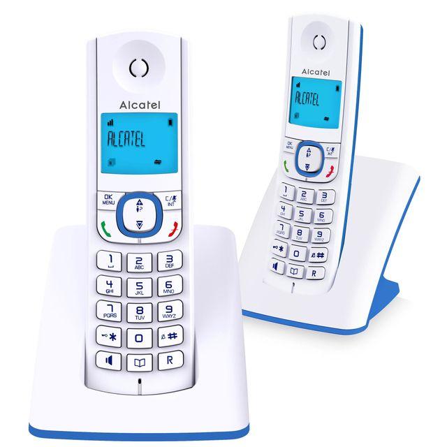 ALCATEL téléphone sans fil duo dect blanc/bleu - f530duo bleu alcatel - téléphone sans fil duo dect blanc/bleu - f530duo bleu Téléphone sans fil Alcatel F530DUO BLEU. Confort visuel d'un grand écran rétro éclairé. Fonction mains-libres pour partager agréa