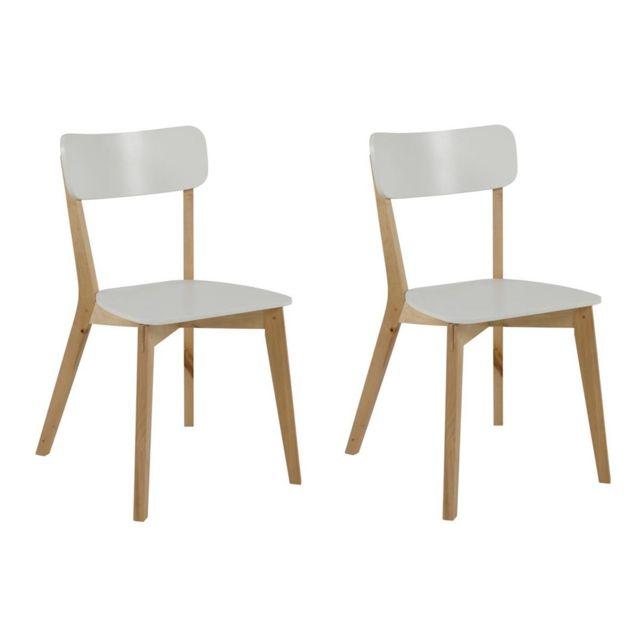 Chaise Design Bois Et Laque Blanc Mat Lot De 2 Laena