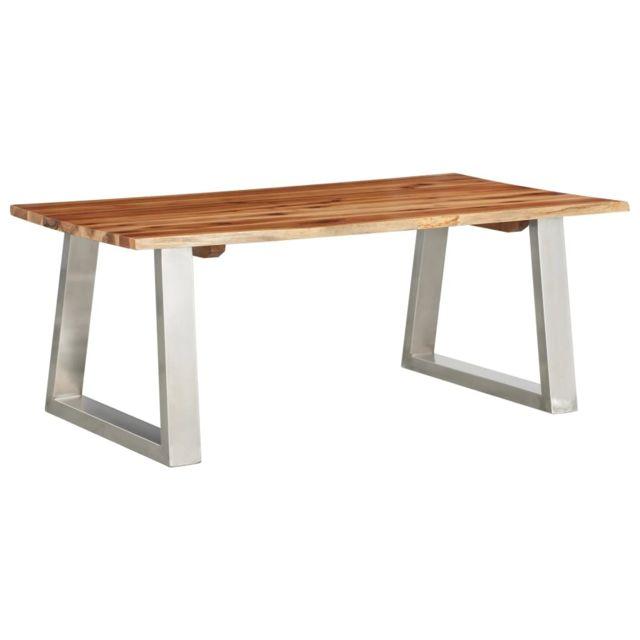 Vidaxl Bois d'Acacia Table Basse Acier Inoxydable Table d'Appoint Salon Canapé