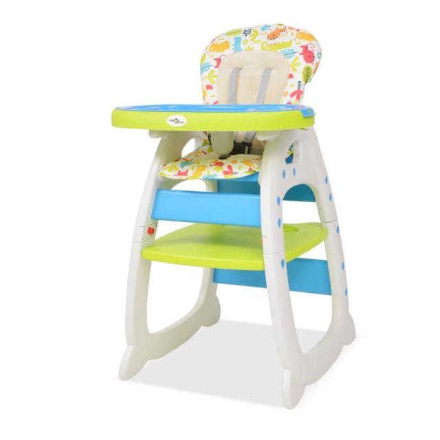 Vidaxl Chaise Haute Convertible 3 En 1 Avec Table Bleu Et Vert