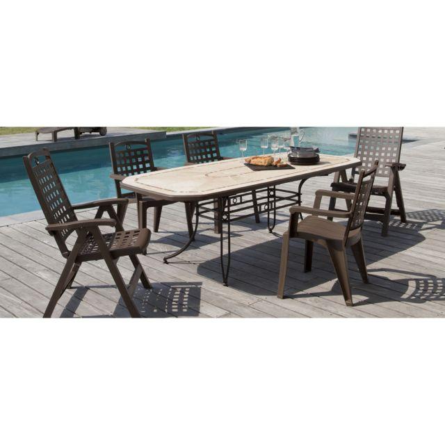 Grosfillex - Salon de jardin 6 personnes résine/acier: table + 4 ...