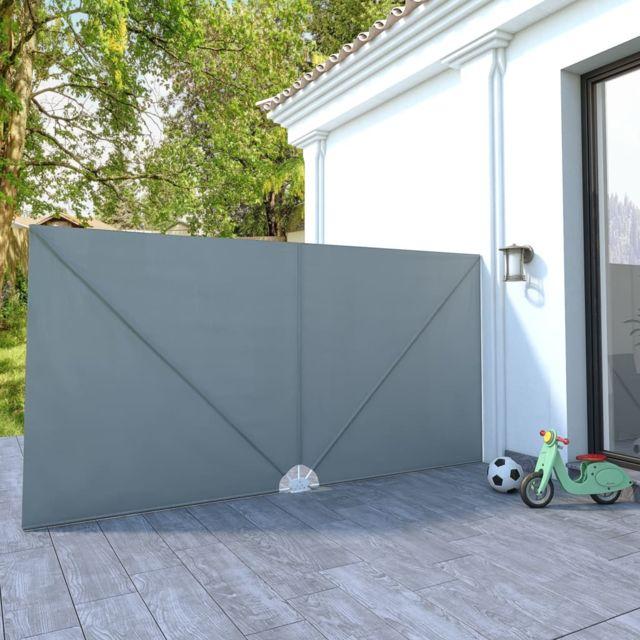 Vidaxl Auvent latéral pliable de terrasse Gris 400 x 200 cm