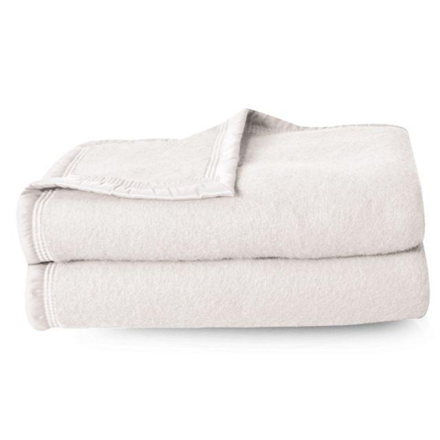 linnea couverture pure laine vierge woolmark 500g m volta 220x240 cm blanc naturel. Black Bedroom Furniture Sets. Home Design Ideas