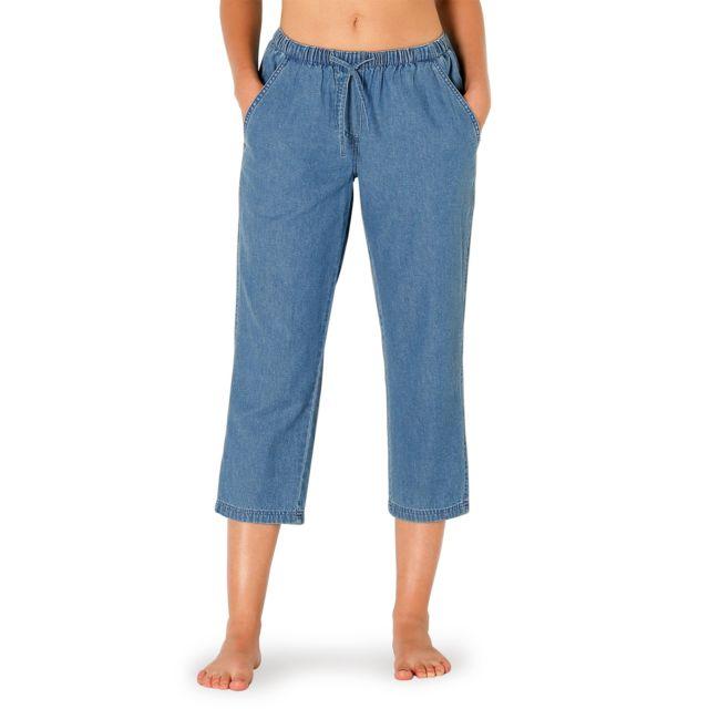 dadb73def59e0 Blancheporte - Pantacourt denim taille élastiquée - pas cher Achat   Vente Jeans  femme - RueDuCommerce