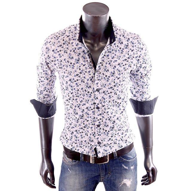 91eb3a0dde53 Damon - Carisma - Chemise blanche à fleurs bleues slim fit homme 8237