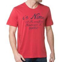 Mustang - T-shirt Homme Rouge Imprimé Usé