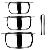 Guy Degrenne - Série de 3 casseroles 16 - 18 - 20 cm + 1 poignée acier amovible -newCook Clip par