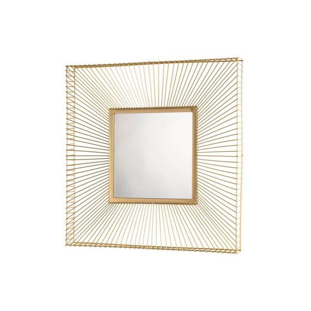 Bobochic Miroir carré métal doré Jiosa