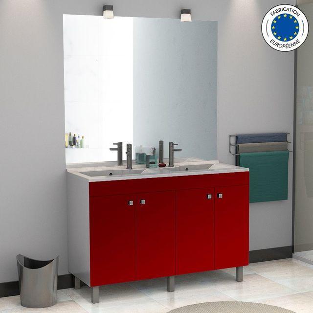 Creazur - Meuble salle de bain ÉCOLINE 120 double vasque résine ...