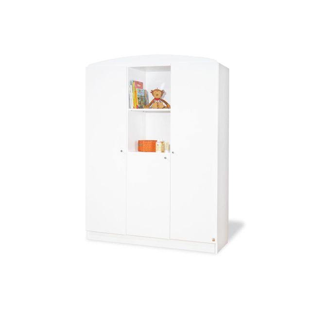 Comforium Armoire 190 cm à 3 portes et 2 niches en bois massif coloris blanc