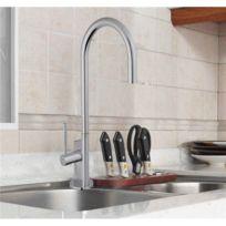 - Robinet pour évier de cuisine Mitigeur Bec haut mobile en laiton chromé