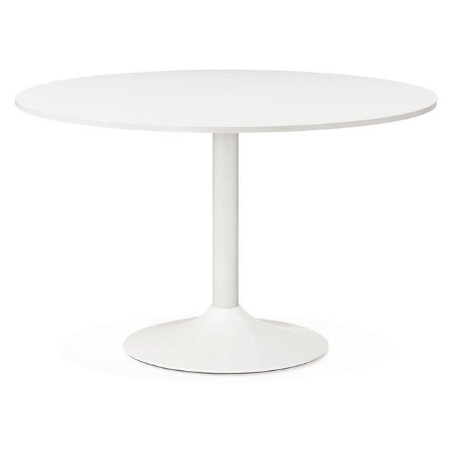 Alterego Table de bureau/Ã diner ronde 'ORLANDO' blanche - Ã? 120 cm