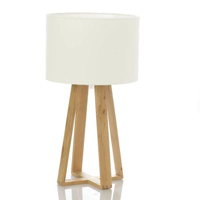 Atmosphera - Lampe Scandinave blanche avec pied en bois