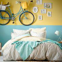 Essix - Taie d'oreiller réversible 100% coton fleur Liberty losange bleu/jaune Happy