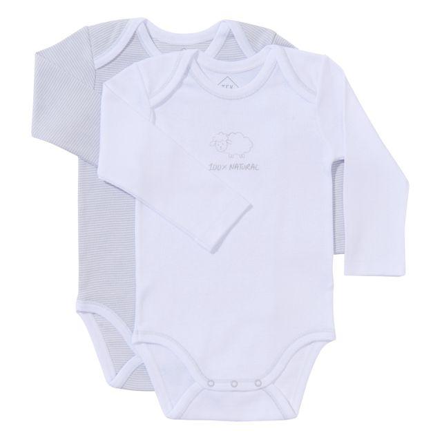 TEX BABY - Lot de 2 bodies bébé en coton BIO manches longues gris ... b6e86ac7c75