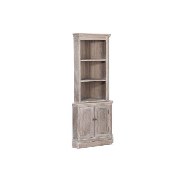Commode d'angle 2 étagères et 2 portes bois 49x49x110 cm - coloris bois nature