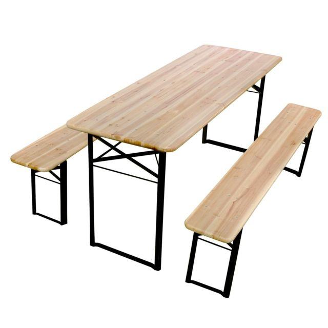 Mobeventpro - Table et 2 bancs pliants bois 220cm 10 places Pique-nique brasserie