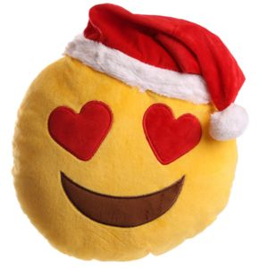 character world peluche coussin emoji clin d 39 oeil avec bonnet de noel pas cher achat vente. Black Bedroom Furniture Sets. Home Design Ideas