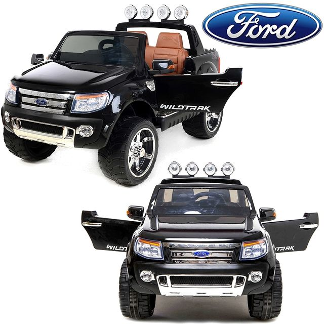 ford 4x4 voiture quad lectrique ranger 12v 2 places si ge luxe en cuir noir pas cher achat. Black Bedroom Furniture Sets. Home Design Ideas