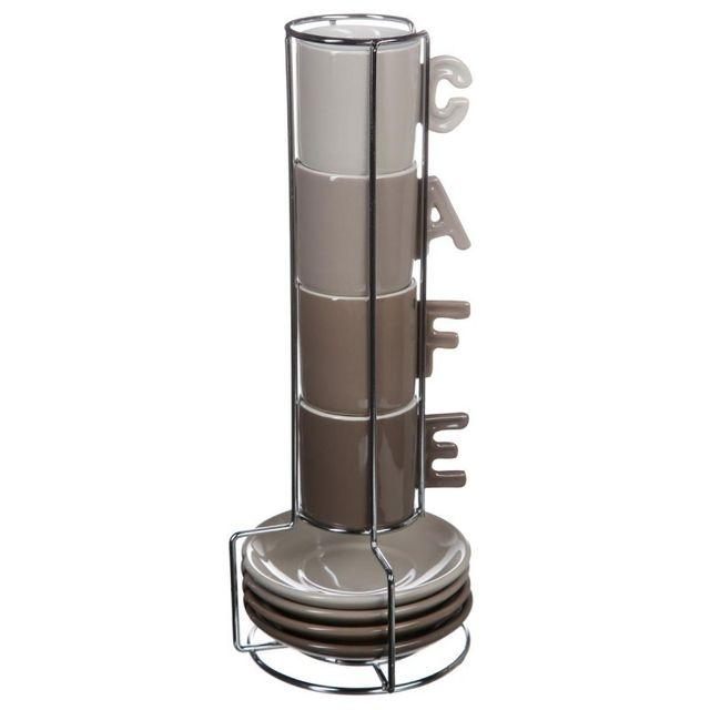 Paris Prix Tasses à Café & Soucoupe Anses Lettre Marron