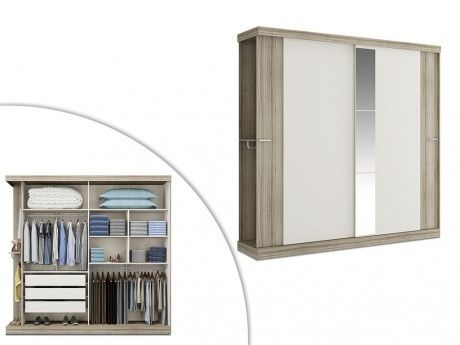 Armoire ADALRIK - 2 portes coulissantes - Avec miroir - L231cm - Chêne et Ivoire