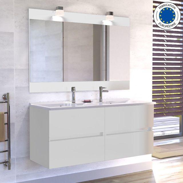 Creazur - Meuble salle de bain double vasque Rosaly 120 - Blanc brillant 608fcfb0e1d7
