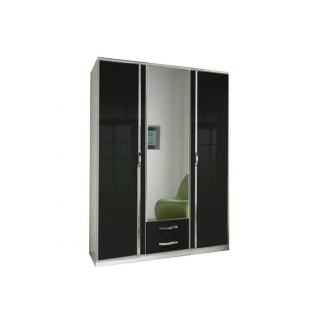 Inside 75 Armoire Kroos 3 portes blanc / laquée noir brillant