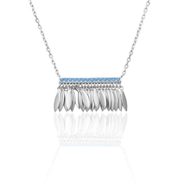 e06352b75b309 Tipy - Collier en Argent 925 1000 et Pierre Bleue - pas cher Achat   Vente  Chaînes, colliers - RueDuCommerce