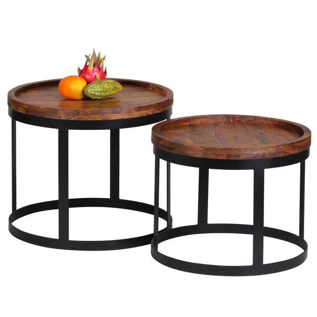COMFORIUM Ensemble de 2 tables avec une base en métal et un plateau rond en bois massif sheesham