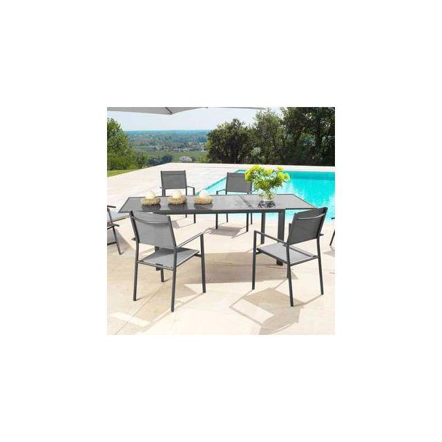 Salon de jardin 6 places Aluminium : Table 160/230x100cm + 6 ...