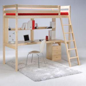 no name lit mezzanine kim 90x190 cm caisson 3 tiroirs bureau tag re sommier 190cm x. Black Bedroom Furniture Sets. Home Design Ideas