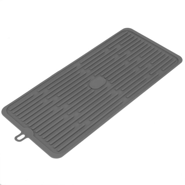 Primematik Tapis de séchage vaisselle en Silicone 446x203 mm gris