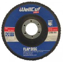 WellCut - Disque flap abrasif bombé Profi Metal Ø 115mm 115 x 22,2mm Grain - Grain 40