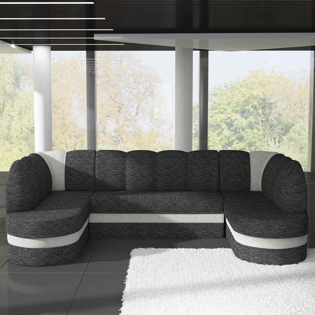 SOFAMOBILI Canapé panoramique convertible gris anthracite et blanc DOLCE