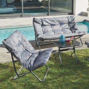 Alinéa - Shrink Salon de jardin pliant gris en tissu et acier 4 ...