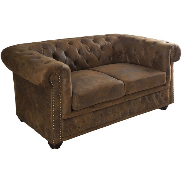 Comforium Canapé chesterfield 2 places vintage en microfibre coloris brun