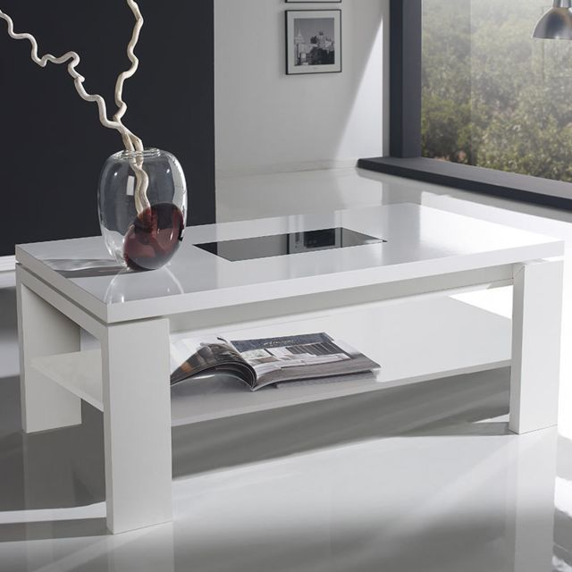 Nouvomeuble Table basse relevable blanche design Moselle