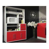 Buffet de cuisine sur roulettes ASTRID - 3 portes & 2 tiroirs - Coloris rouge
