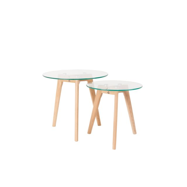 Boite A Design Tables basses scandinave Bror en verre et chêne massif - set de 2