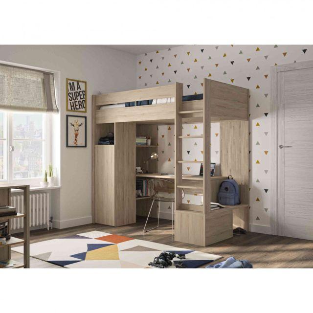 TERRE DE NUIT Lit mezzanine enfant en bois imitation chêne clair - LT5013