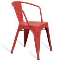 Novara Mobili - Chaise en métal Lix Style Vintage Rouge Rose avec accoudoir
