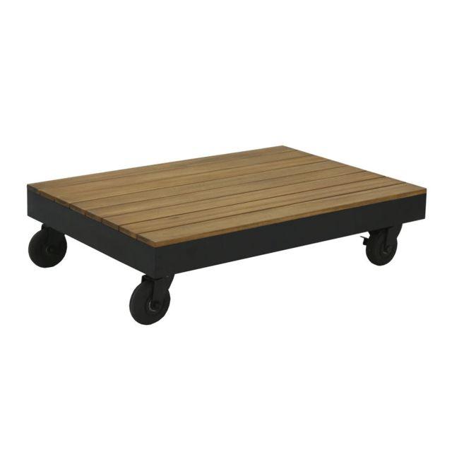 House Bay Table basse sur roulettes 100x70x26cm en acacia Fsc Loft
